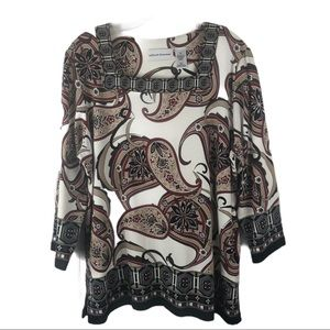 Alfred Dunner Paisley Top Square Neckline Blouse